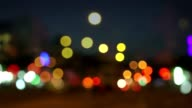 Large bokeh of city lights at night video