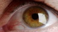 Large brown eye shot in slow motion video