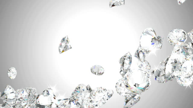 Large diamonds flow with slow motion video