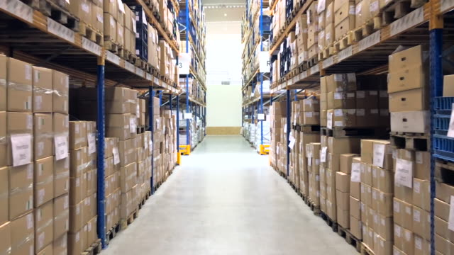 Large distribution center interior - reverse motion video