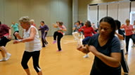 Large diverse group of active seniors in aerobics dance class video
