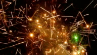 Large firework sparks burning at night fire show video