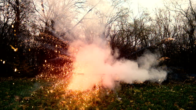 Large flour explosion in the nature video