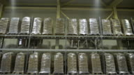Large furniture warehouse. Mezzanine shelving with large packages of food ready for dispatch. Warehouse wholesaler video