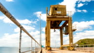 Large Gantry Crane on blue sky. video