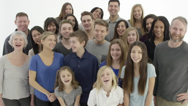Large group of people on a white background video