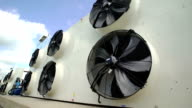 large industrial fans in a modern plant. shoot with slider video