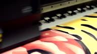 Large industrial printer, close up shot video