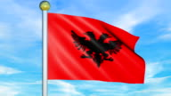 Large Looping Animated Flag of Albania video