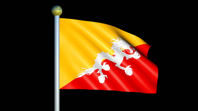 Large Looping Animated Flag of Bhutan video
