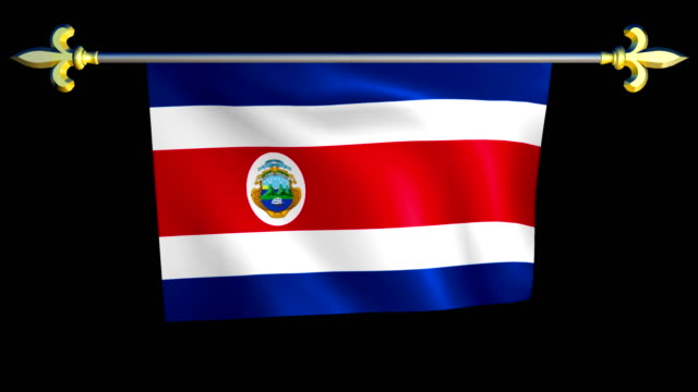 Large Looping Animated Flag of Costa Rica video