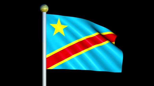Large Looping Animated Flag of Democratic Republic of the Congo video