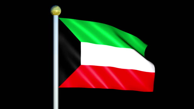 Large Looping Animated Flag of Kuwait video