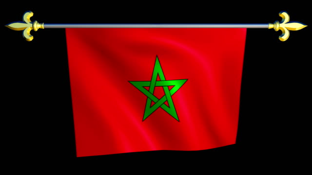 Large Looping Animated Flag of Morocco video