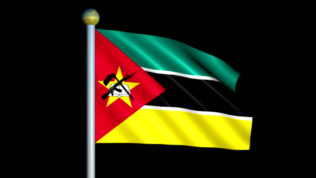 Large Looping Animated Flag of Mozambique video