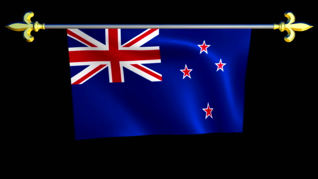 Large Looping Animated Flag of New Zealand video