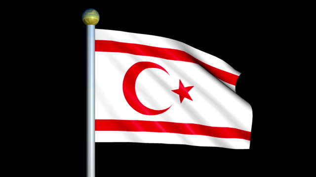 Large Looping Animated Flag of Northern Cyprus video