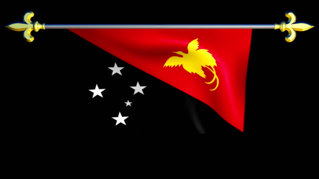 Large Looping Animated Flag of Papua New Guinea video