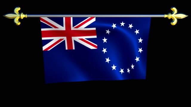 Large Looping Animated Flag of the Cook Islands video