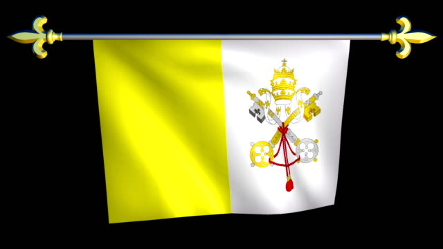 Large Looping Animated Flag of Vatican City video