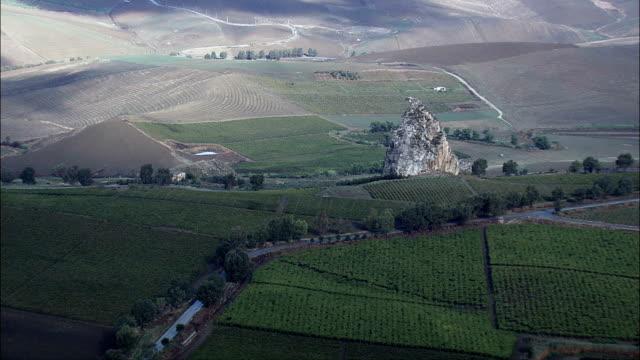 Large Rock In Landscape Near Borgo Schiro  - Aerial View - Sicily, Province of Palermo, Monreale, Italy video