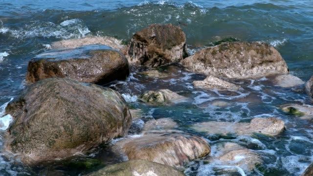 Large rocks on the seashore video