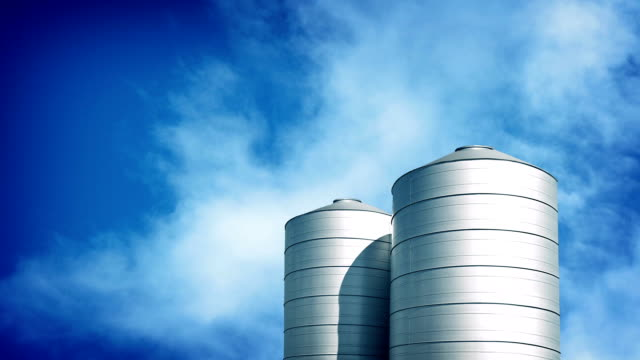 Large Silos On Sunny Day video