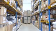 Large warehouse logistic center - reverse motion video