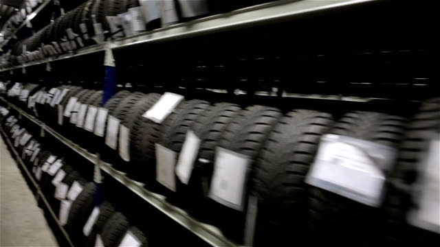 Large warehouse with tires video