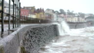 Large Waves Breaking Against Sea Wall At Dawlish In Devon video