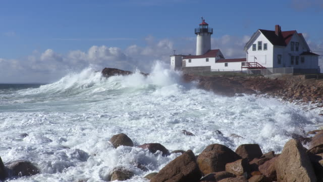 Large waves crashing around the Eastern Point Lighthouse video