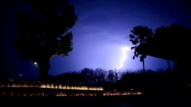 Large wide lightning bolt strikes night video