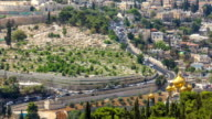 Largest Jewish cemetery in the world on slopes timelapse of Mount of Olives, Jerusalem, Israel video