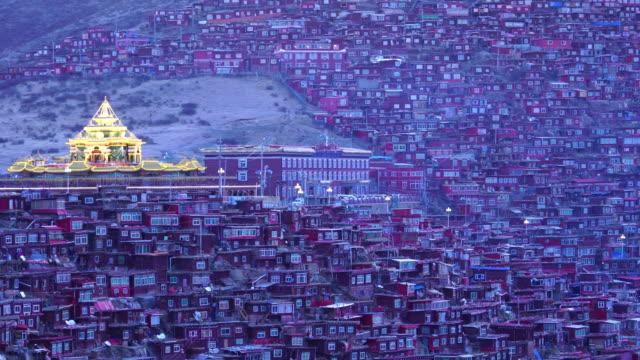 Larung gar(Buddhist Academy) in Sichuan, China. the Larung Valley is a town in Sertar County of Garze Tibetan Autonomous Prefecture, in Tibet, Kham (Xikang), China. video