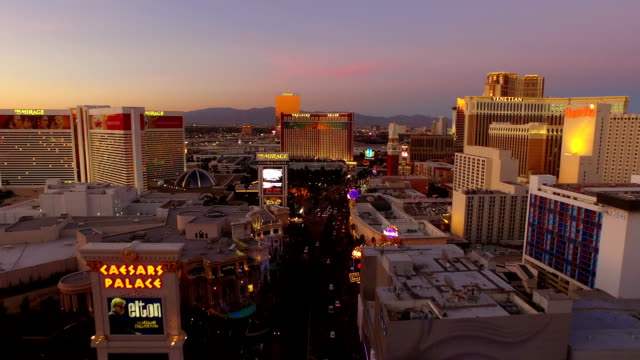 Las Vegas Aerial Cityscape Strip Dusk video