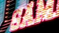 Las Vegas Casino Neon Sign with Flashing Light Bulbs video