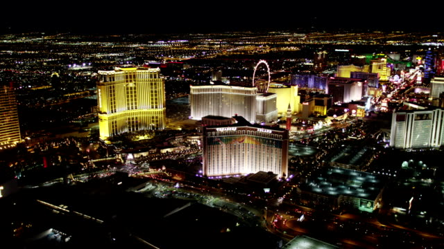 Las Vegas Strip Aerial View at Night video