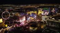 Las Vegas Strip Aerial View at Night video