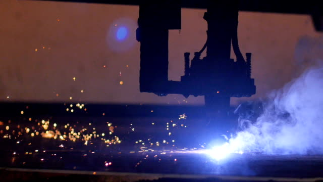laser cutter cuts metal parts video