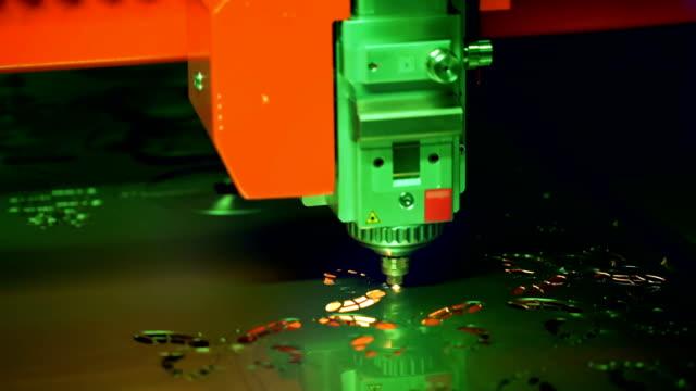 CNC Laser cutting of metal, modern industrial technology. video