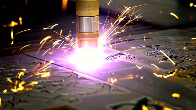 CNC Laser plasma cutting of metal, modern industrial technology. video