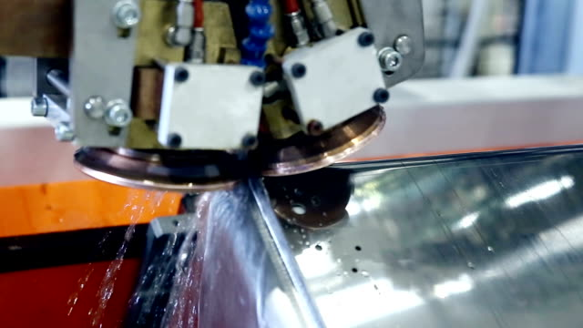 Laser. plasma robotic welding machine works with metall video