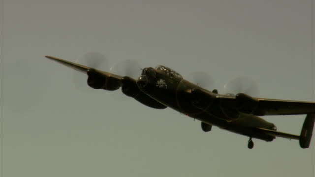 Last Lancaster Bomber In Flight  - Aerial View - England, Leicestershire, Melton District, United Kingdom video