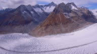 Lateral panoramic view of Aletsch glacier - Valais, Switzerland video