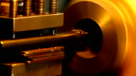 Lathe working in factory video