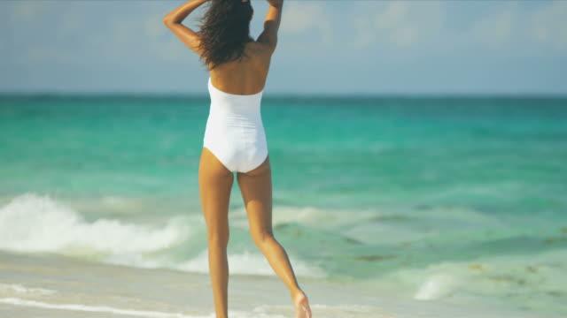 Latin American Girl Enjoying Luxury Island Vacation video