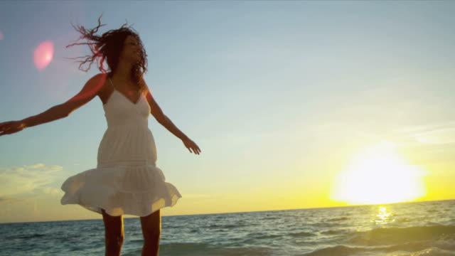 Latin American Girl Sunrise Enjoying Island Vacation video