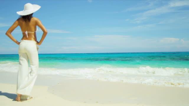 Latin American Girl Wearing White Tropical Beach video