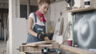 Latina Carpenter Painting Plank. video