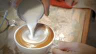 Latte art,Milk pouring by a Barista video